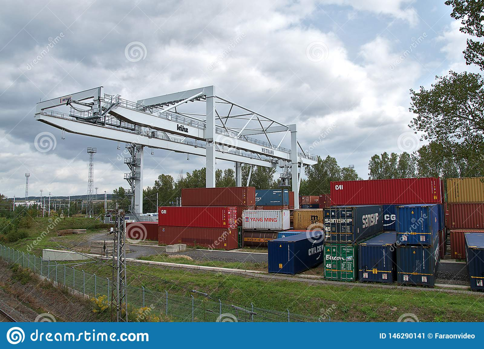 Ceska Trebova, Czech Republic - 20.4.2019: Container train terminal company METRANS. Cranes for loading containers. Railway