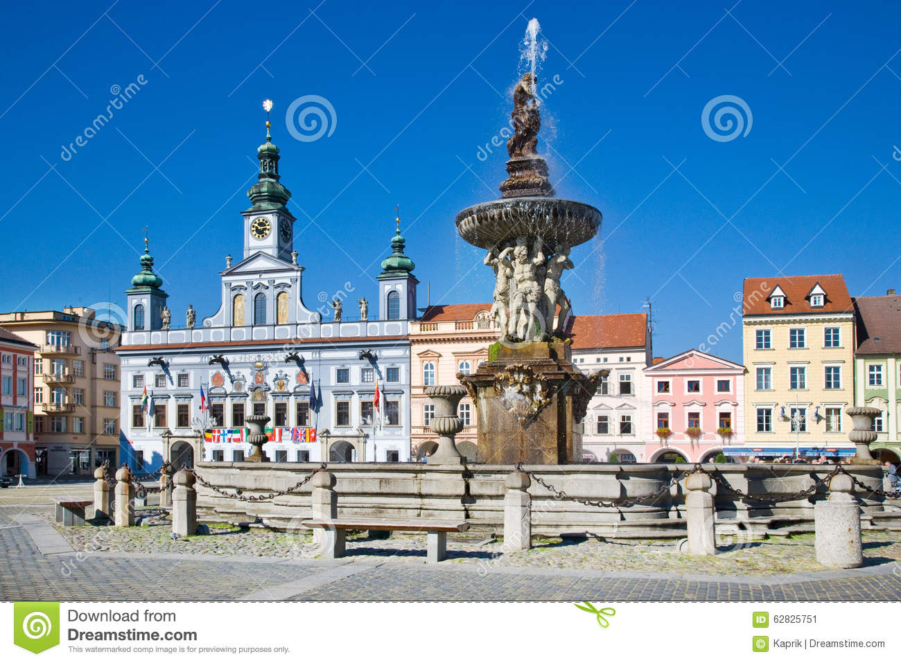 Ceske Budejovice Czech Republic  City pictures : CESKE BUDEJOVICE, CZECH REPUBLIC JULY 15 Premysl Otakar square and ...