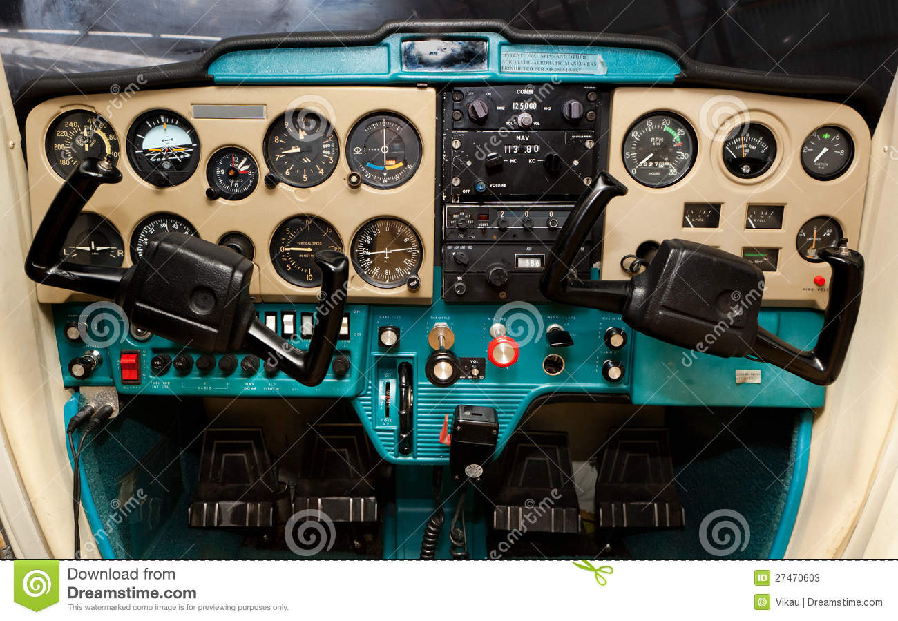 Cockpit of the Cessna 150 aircraft, photo is suitable for large scla ...