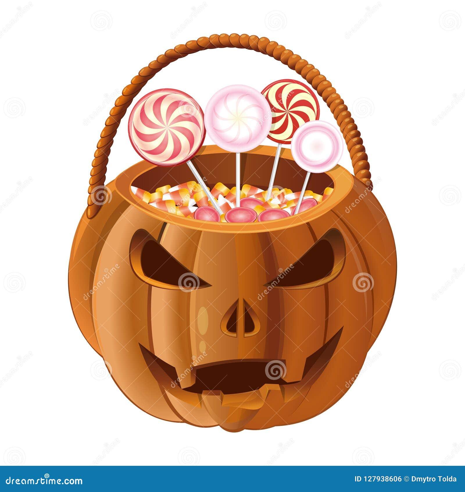 Cesta anaranjada de la calabaza para recoger el caramelo en Halloween