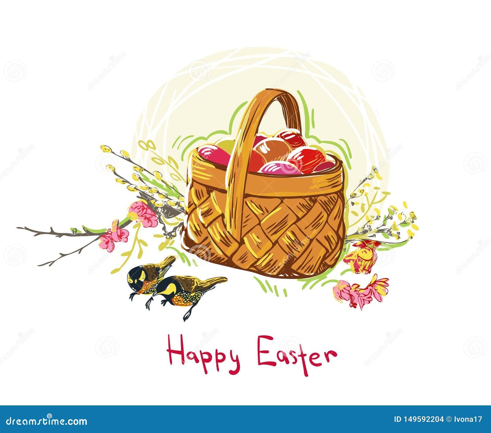 Cesta colorida de la flor del dise?o del estilo de la pintura del vector de los huevos de Pascua