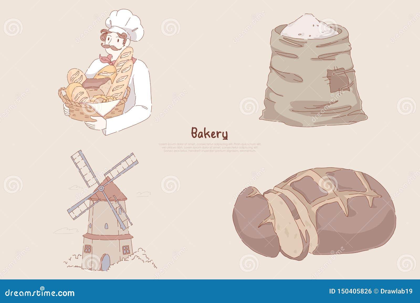 Cesta com cozimento delicioso, saco da terra arrendada do padeiro da farinha de trigo, moinho de vento, pão de centeio cortado, b