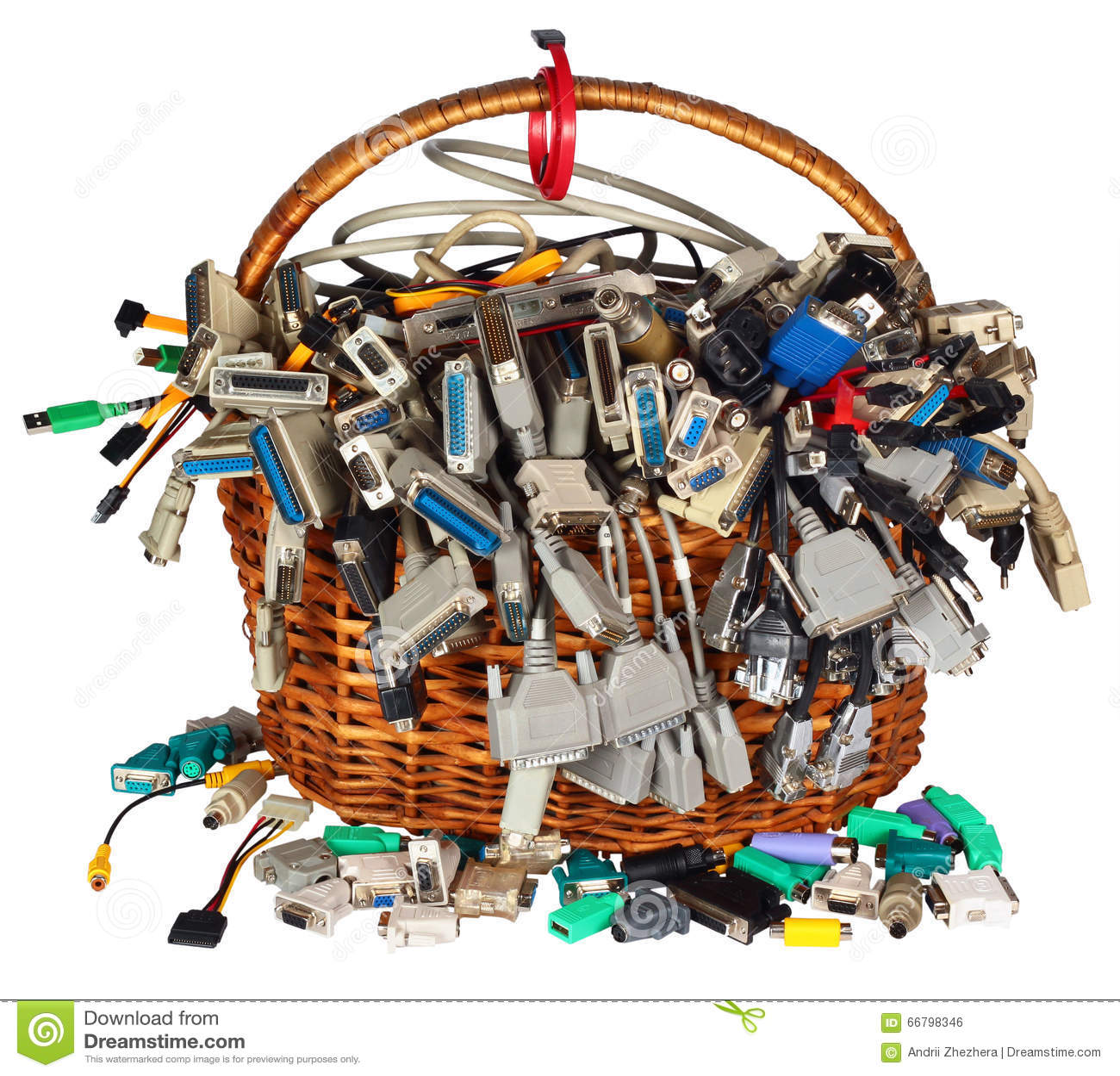 A cesta com muitos computador diferente cabografa a peúga dos conectores dos fios