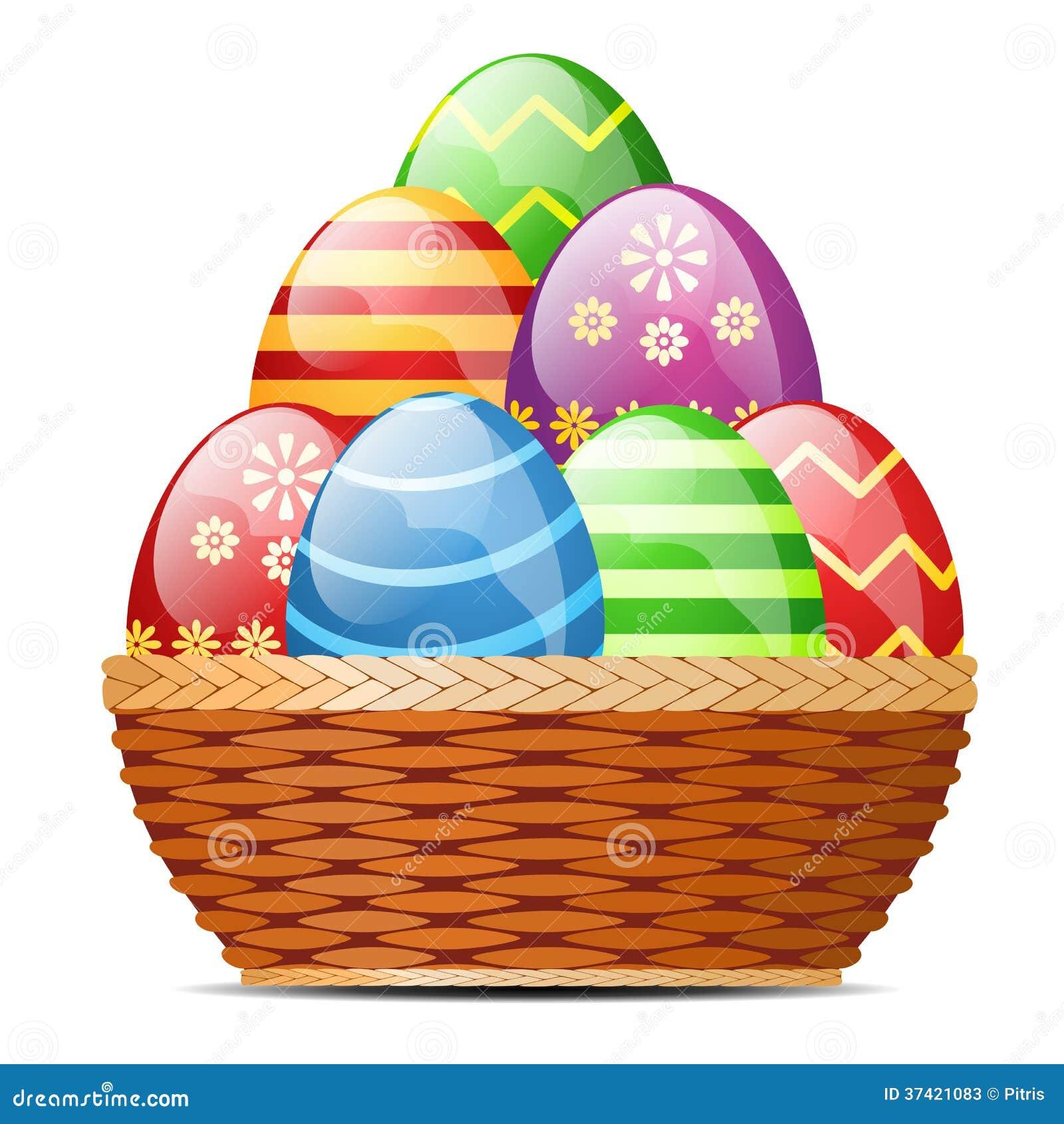 Cesta com ovos da páscoa