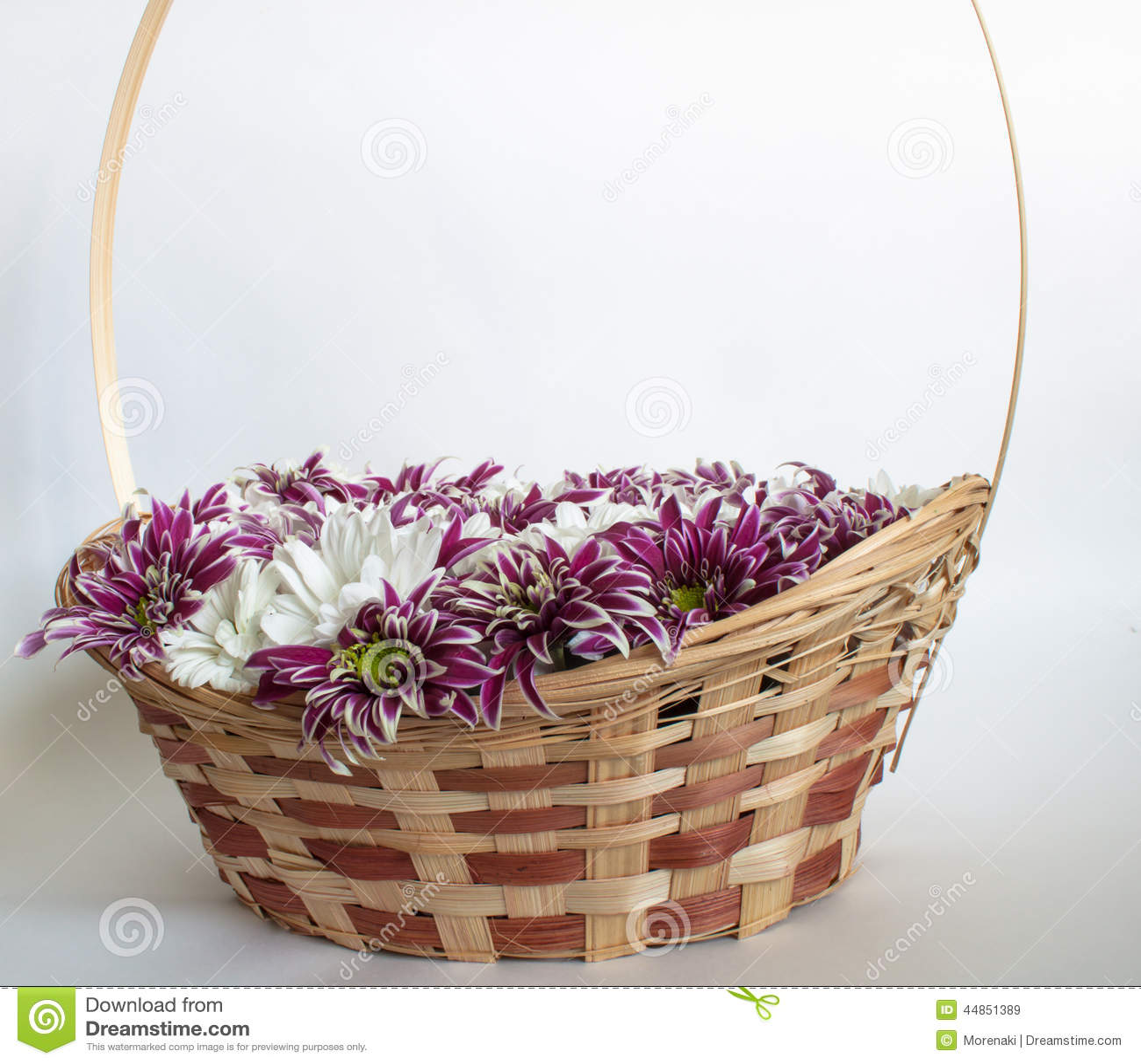 Cesta con los crisantemos