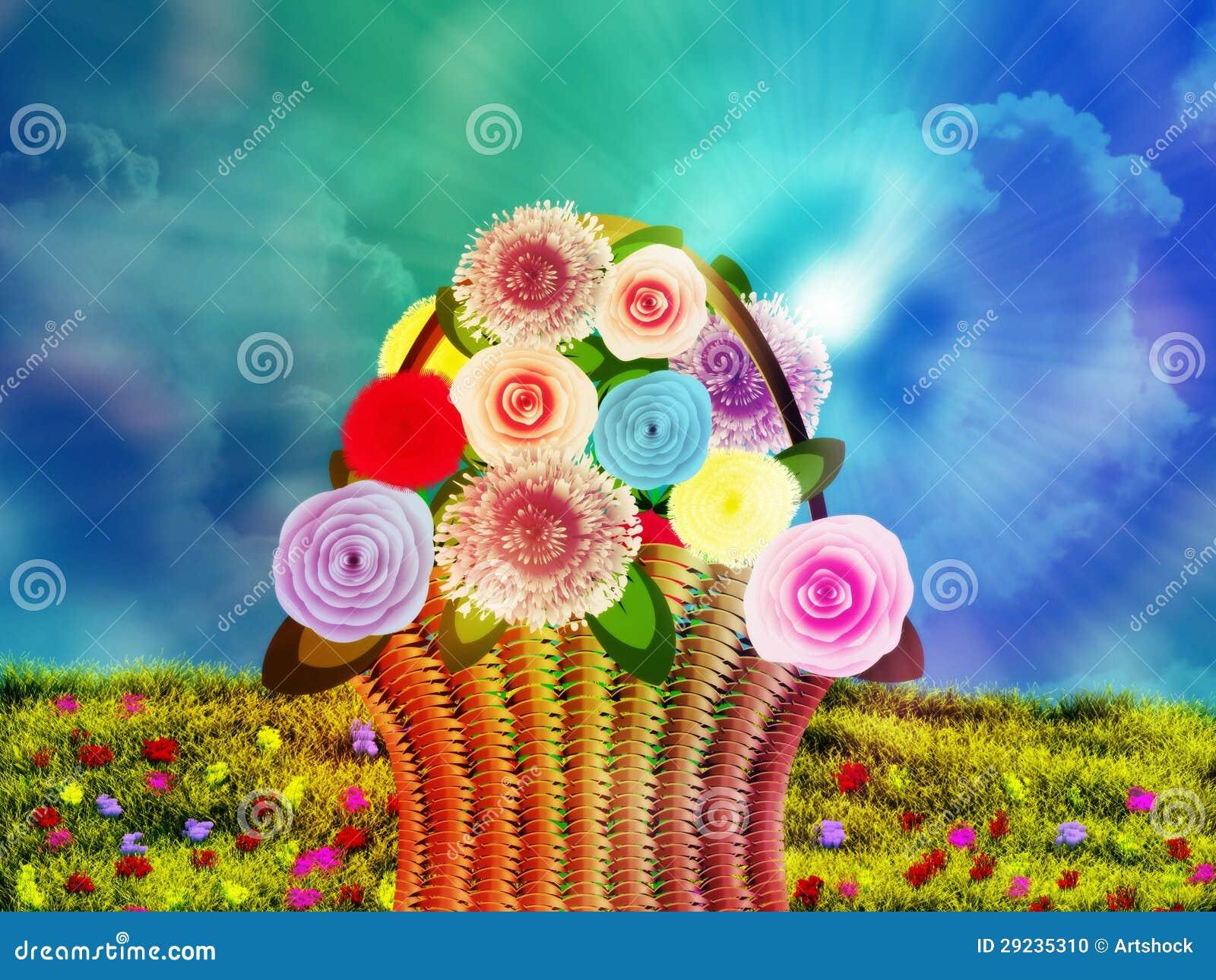 Download Cesta das flores no prado ilustração stock. Ilustração de dandelion - 29235310