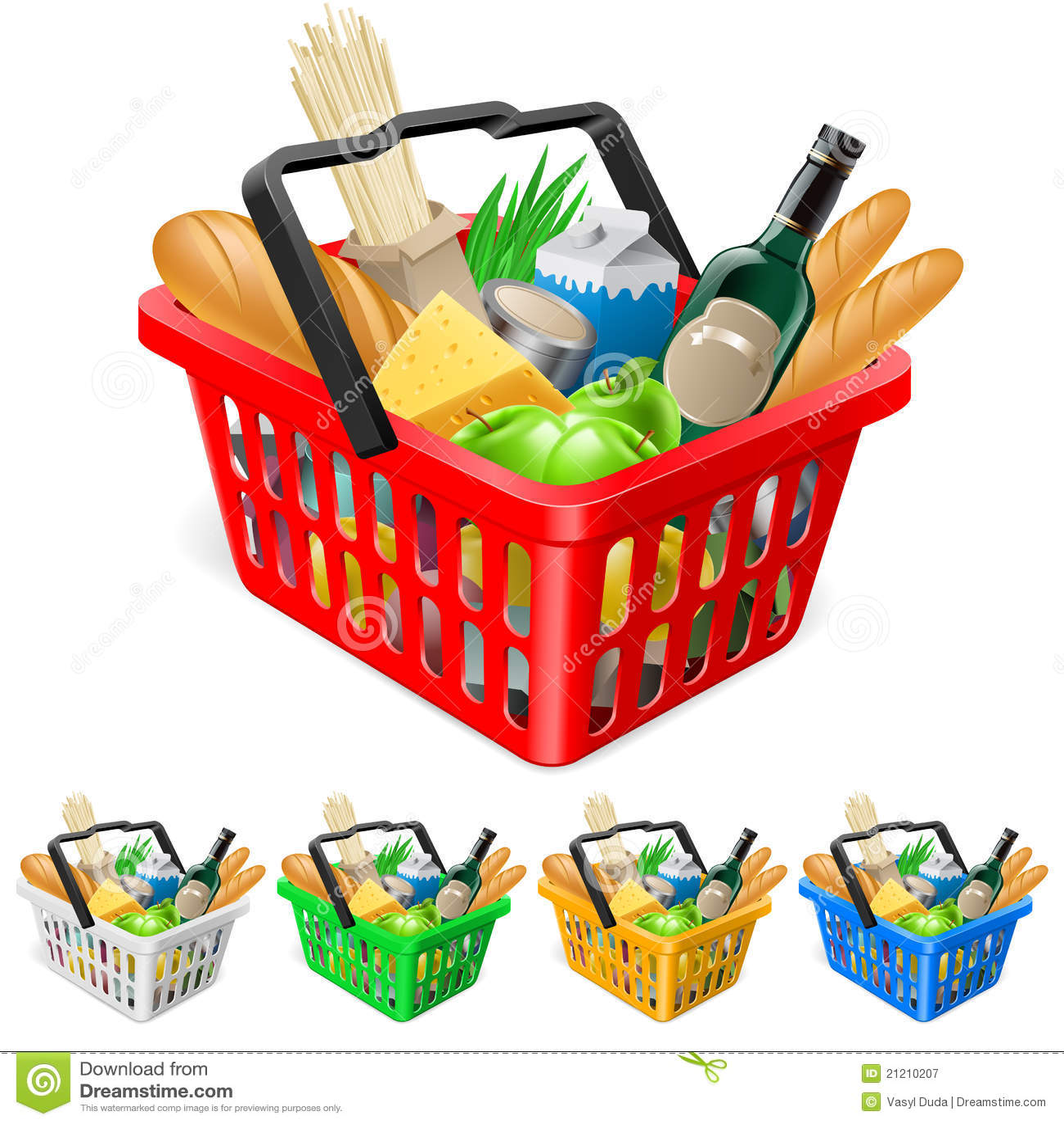 Cesta de compra com alimentos.