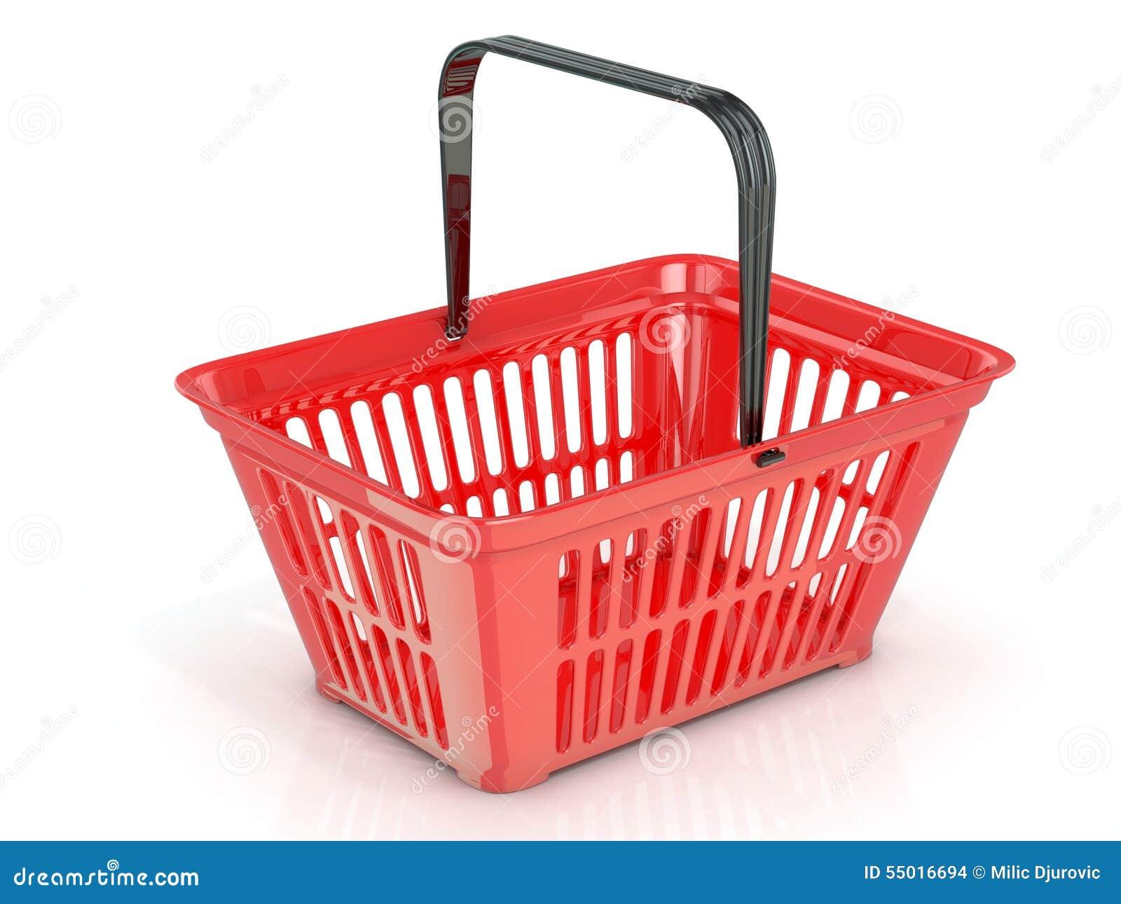 Cesta de compras roja, vista lateral
