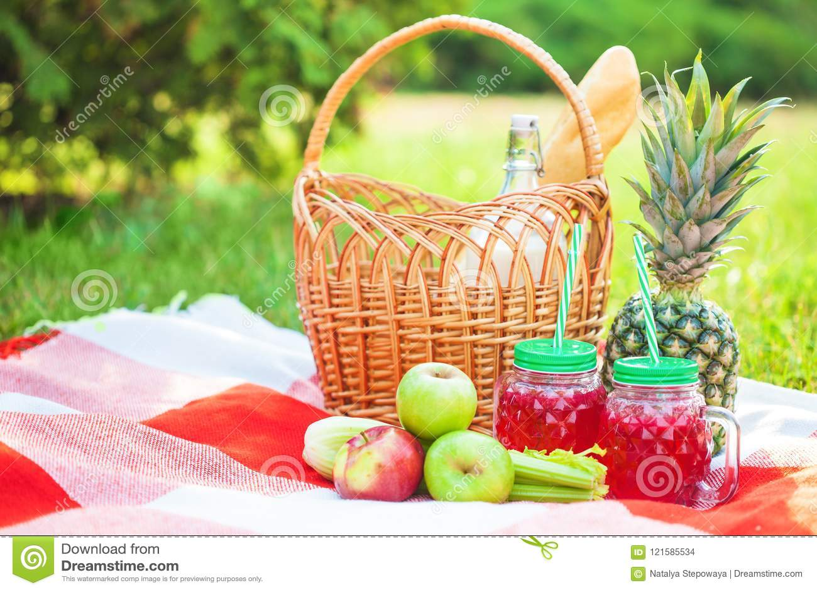 Cesta de la comida campestre, fruta, jugo en las pequeñas botellas, manzanas, leche, verano de la piña, resto, tela escocesa, esp