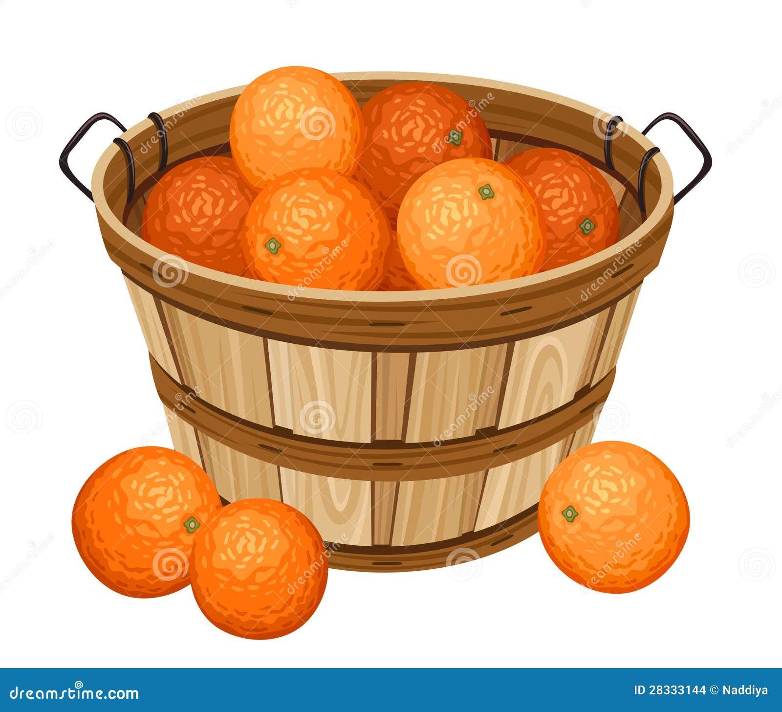 Cesta de madera con las naranjas imagenes de archivo - Cestos de madera ...