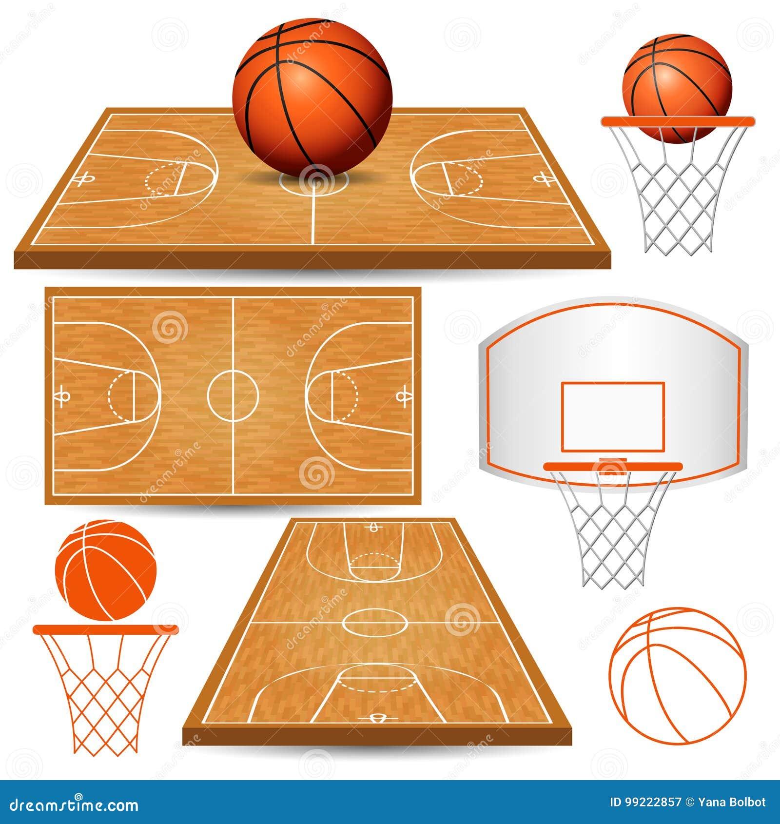 Cesta del baloncesto, aro, bola, campos aislados en el fondo blanco