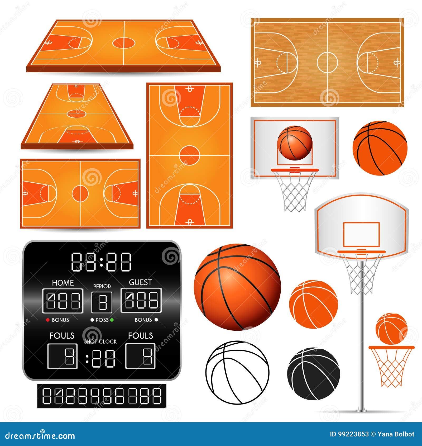 Cesta del baloncesto, aro, bola, marcador con los números, campos en el fondo blanco