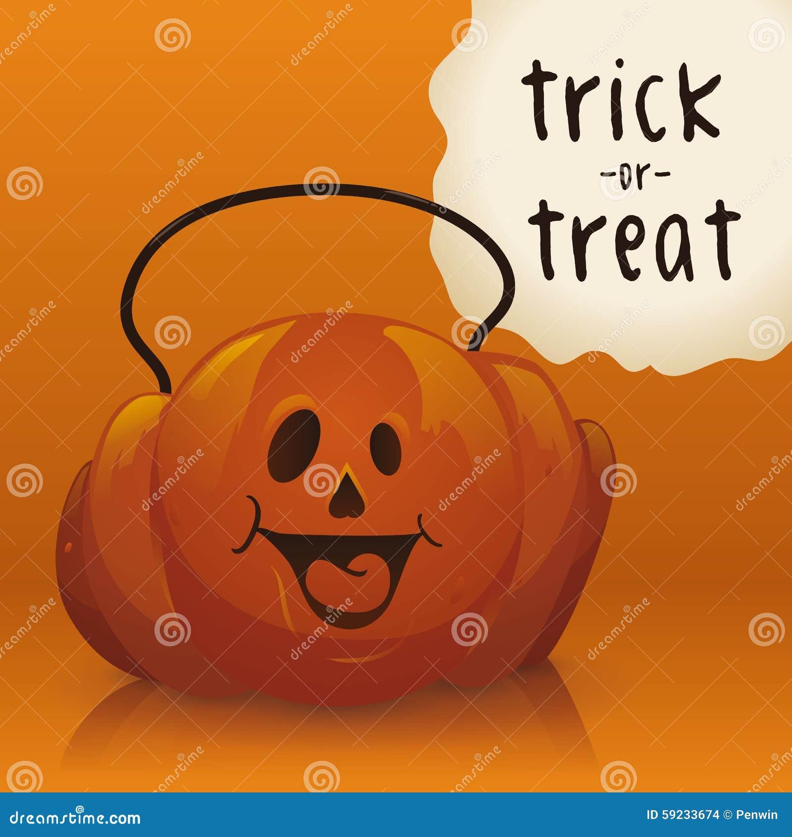 Cesta del caramelo de la calabaza de Halloween