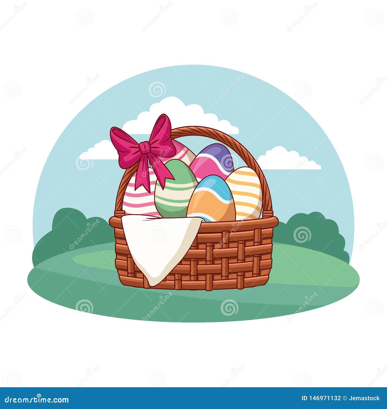 Cesta del huevo de Pascua con el marco de la ronda del fondo de la naturaleza de la cinta