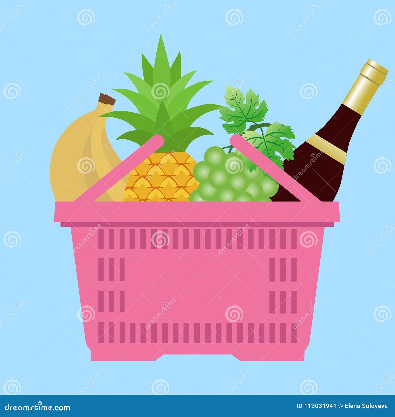 Cesta del ultramarinos - una cesta de compras con las diversas comidas y bebidas ejemplo en el estilo plano, plantilla del diseño