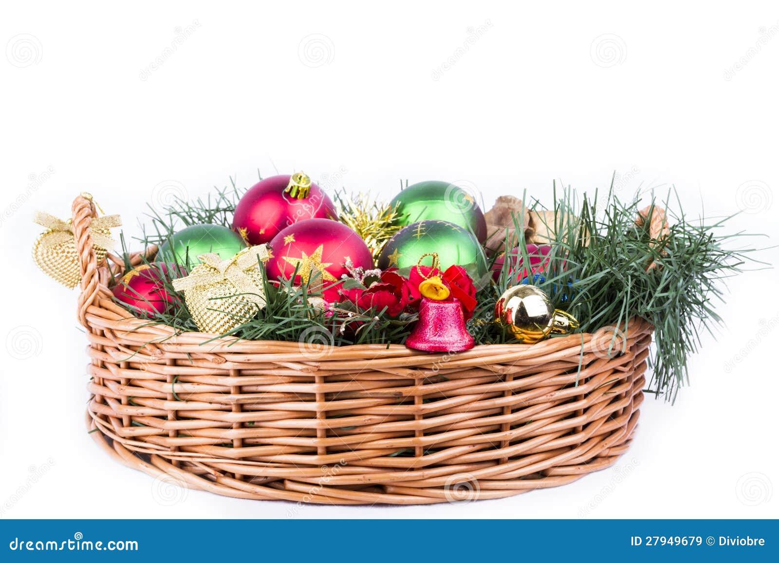 Cesta Do Natal Decorada Imagens de Stock Royalty Free  Imagem