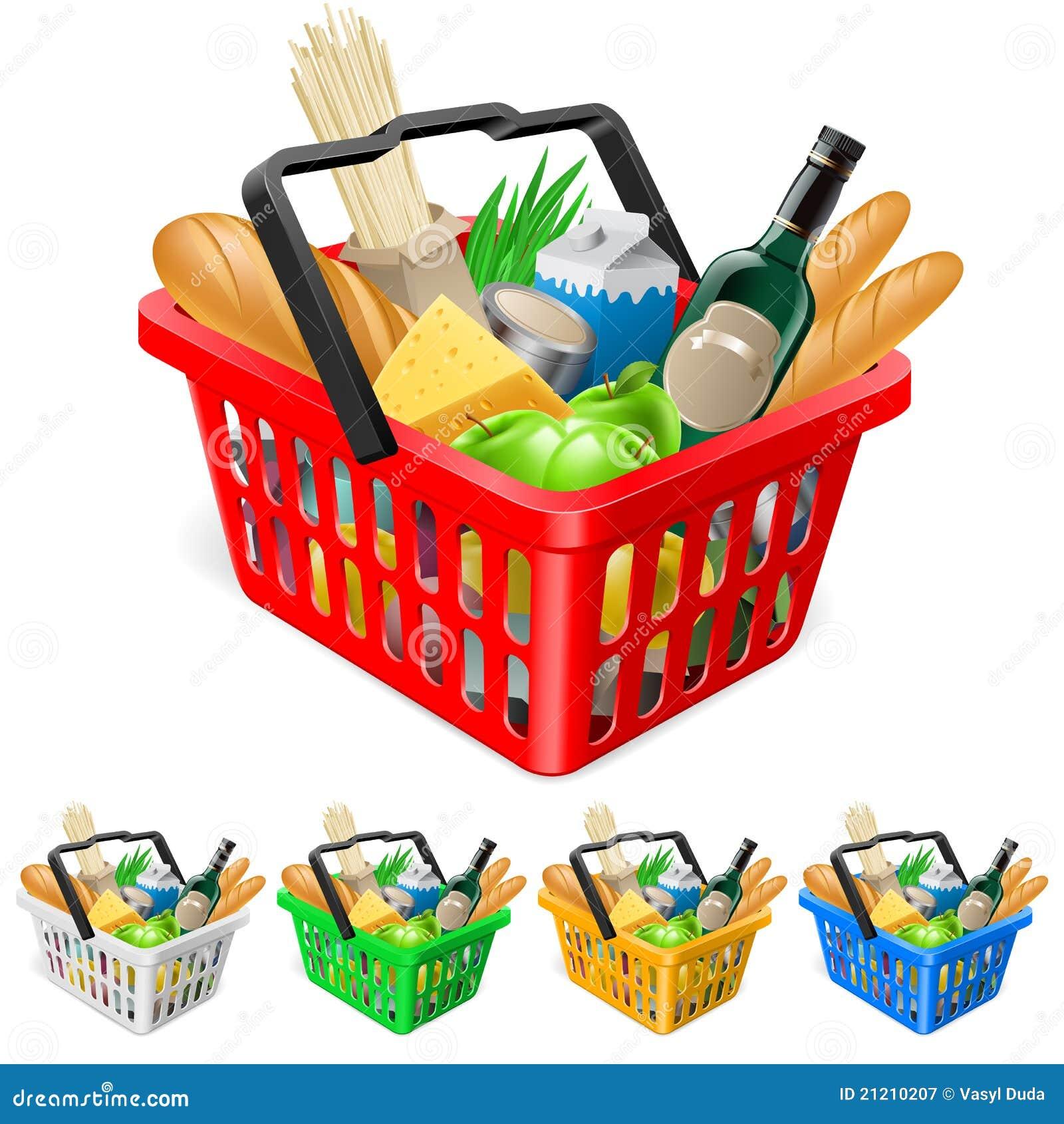 Cestino di acquisto con gli alimenti.