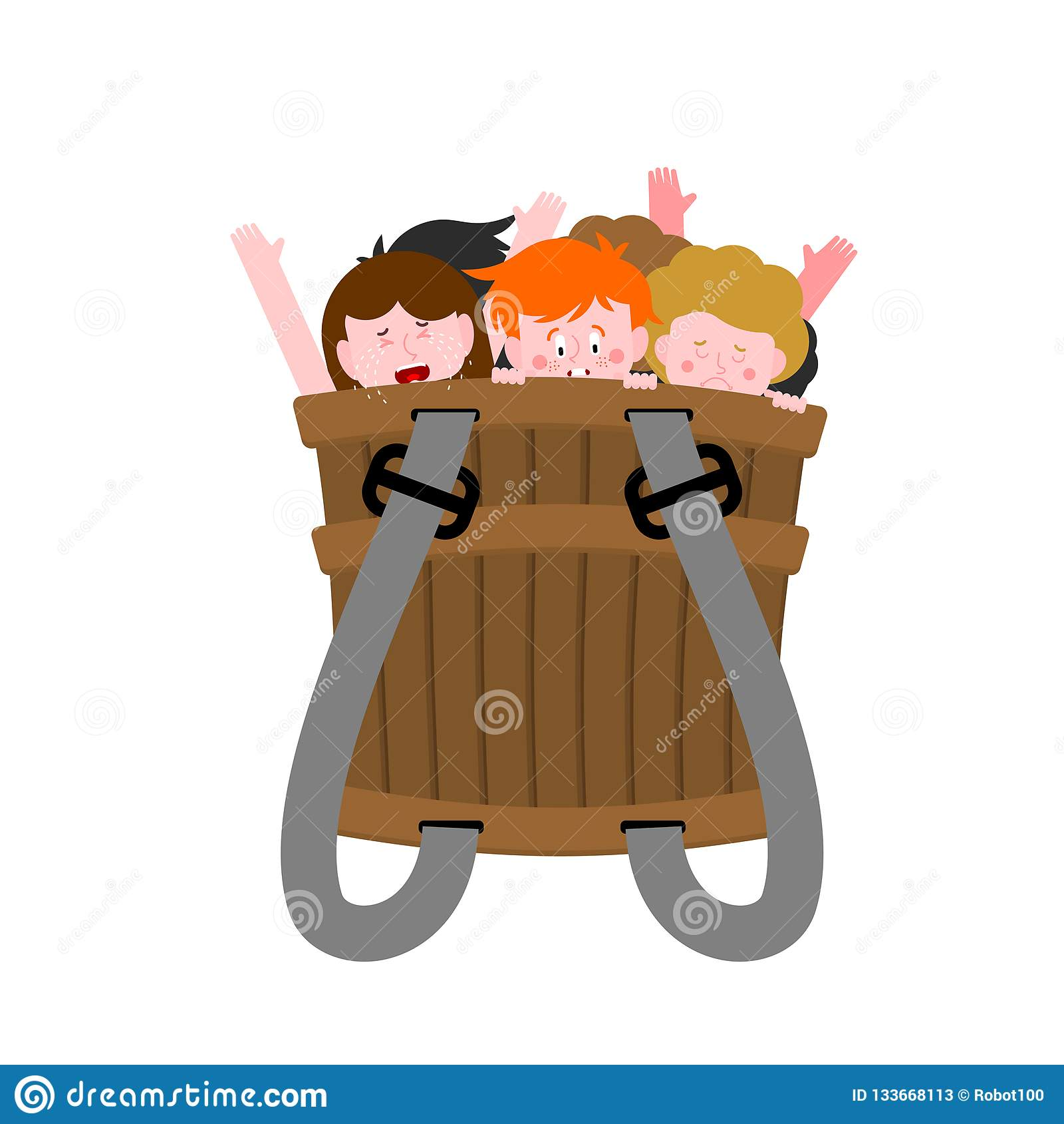 Cesto com crianças impertinentes Crianças más na caixa Cesta de Krampus