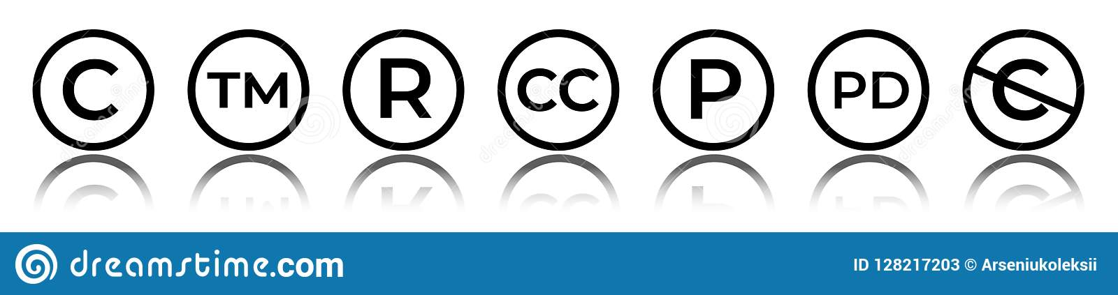 Cet av runda copyright-- och varumärkessymboler Reserverat tecken för rätt