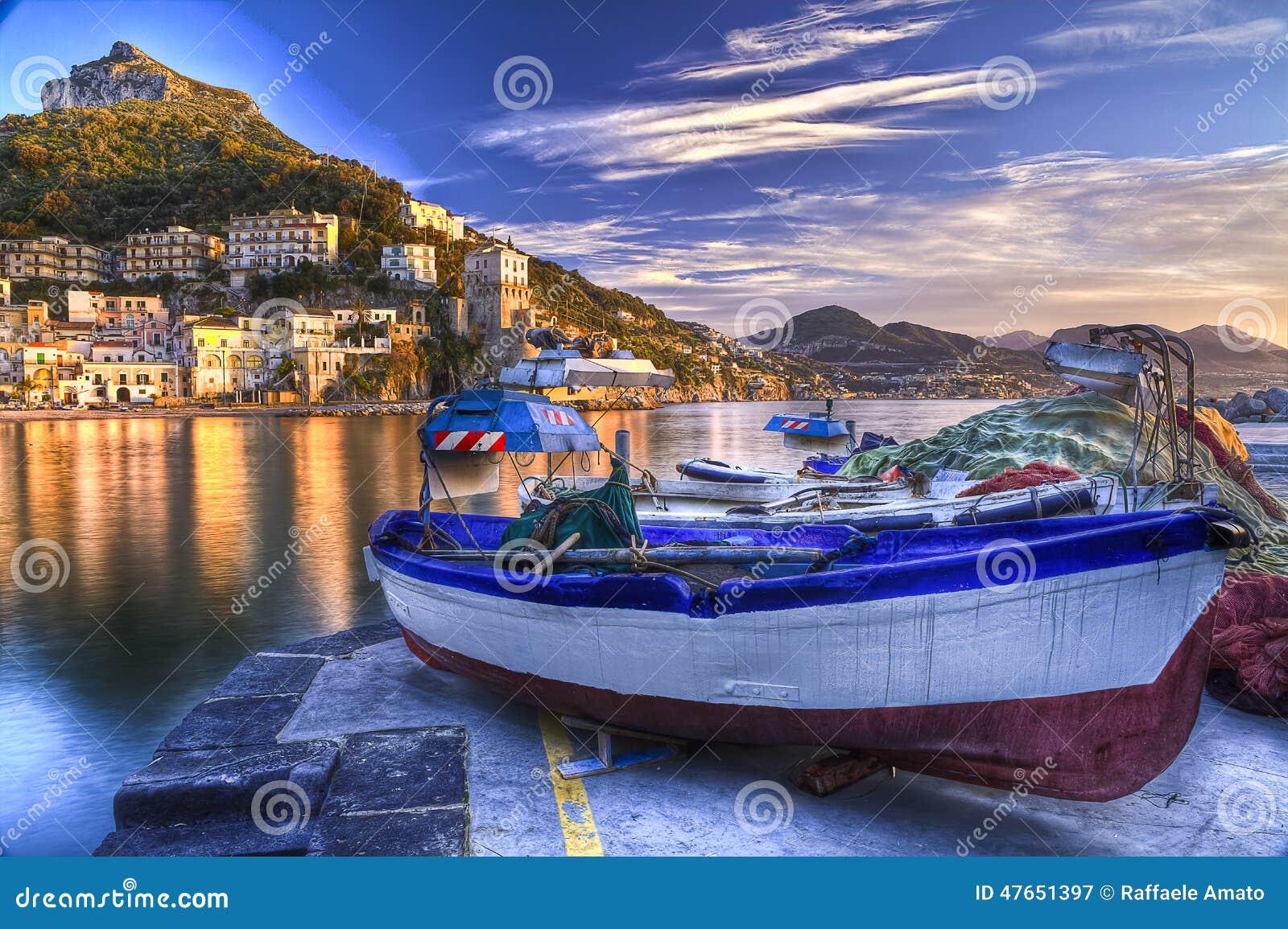 Cetara fishing village Amalfi coast watery reflections at sunr
