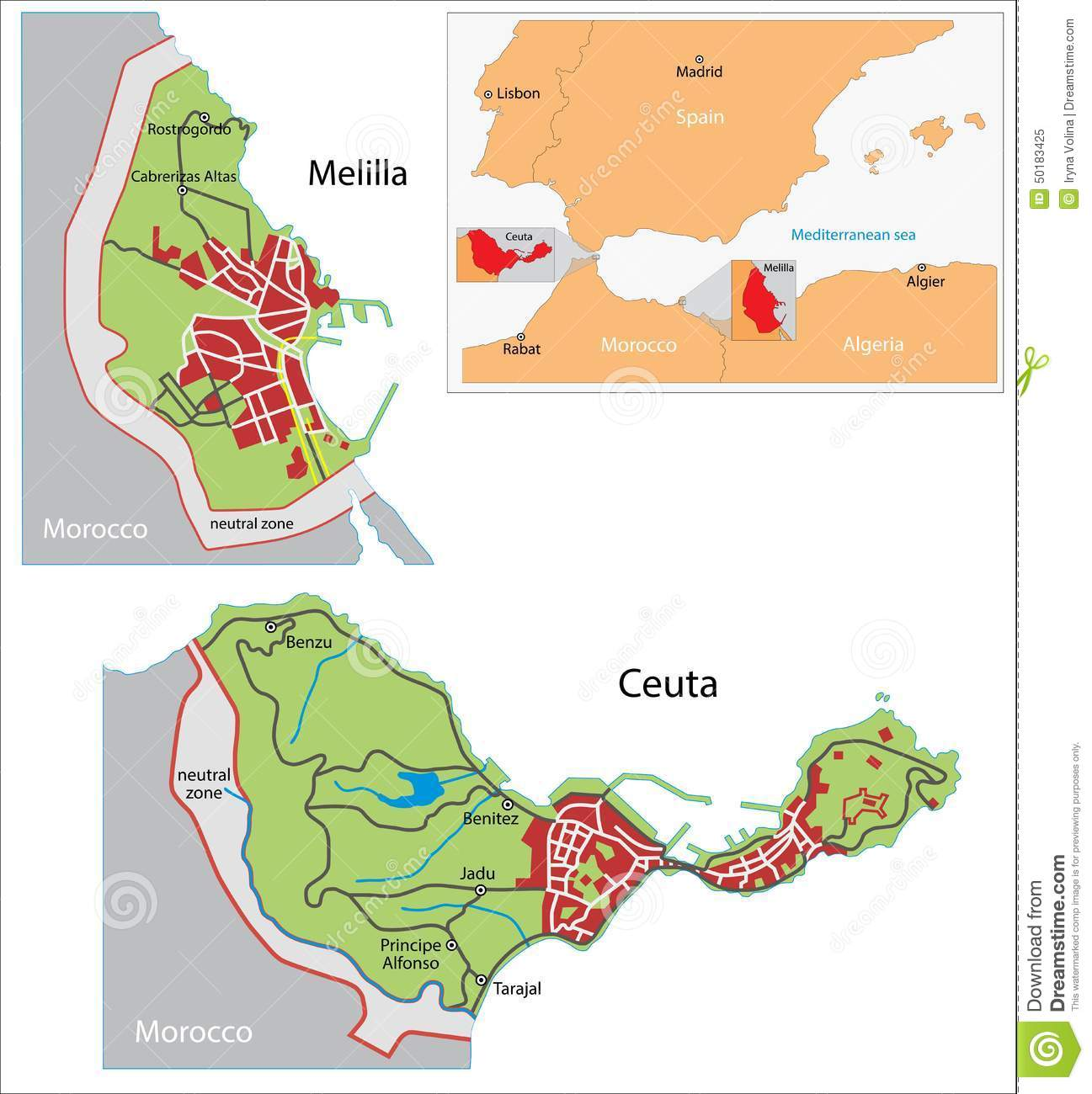 ceuta and melilla map stock vector image