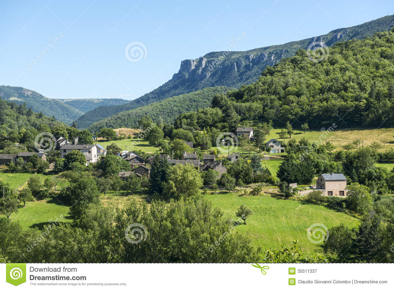 Royalty Free Stock Photography Cevennes Mountain Landscape Parc Des Gard Languedoc Roussillon France Summer Small Village Image35511337 on french country house plans
