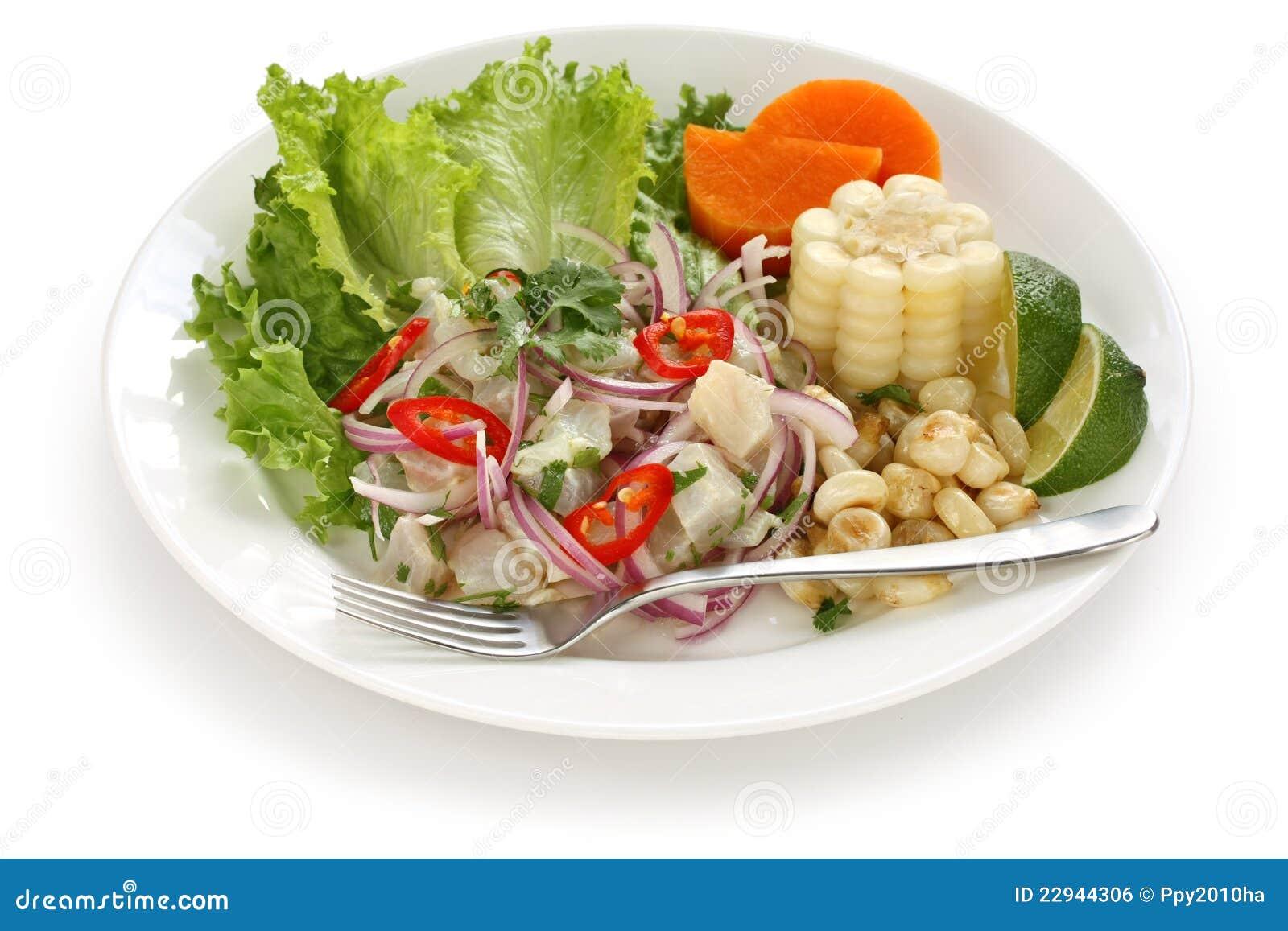 Ceviche plato de los mariscos cocina peruana imagen de for Platos de cocina