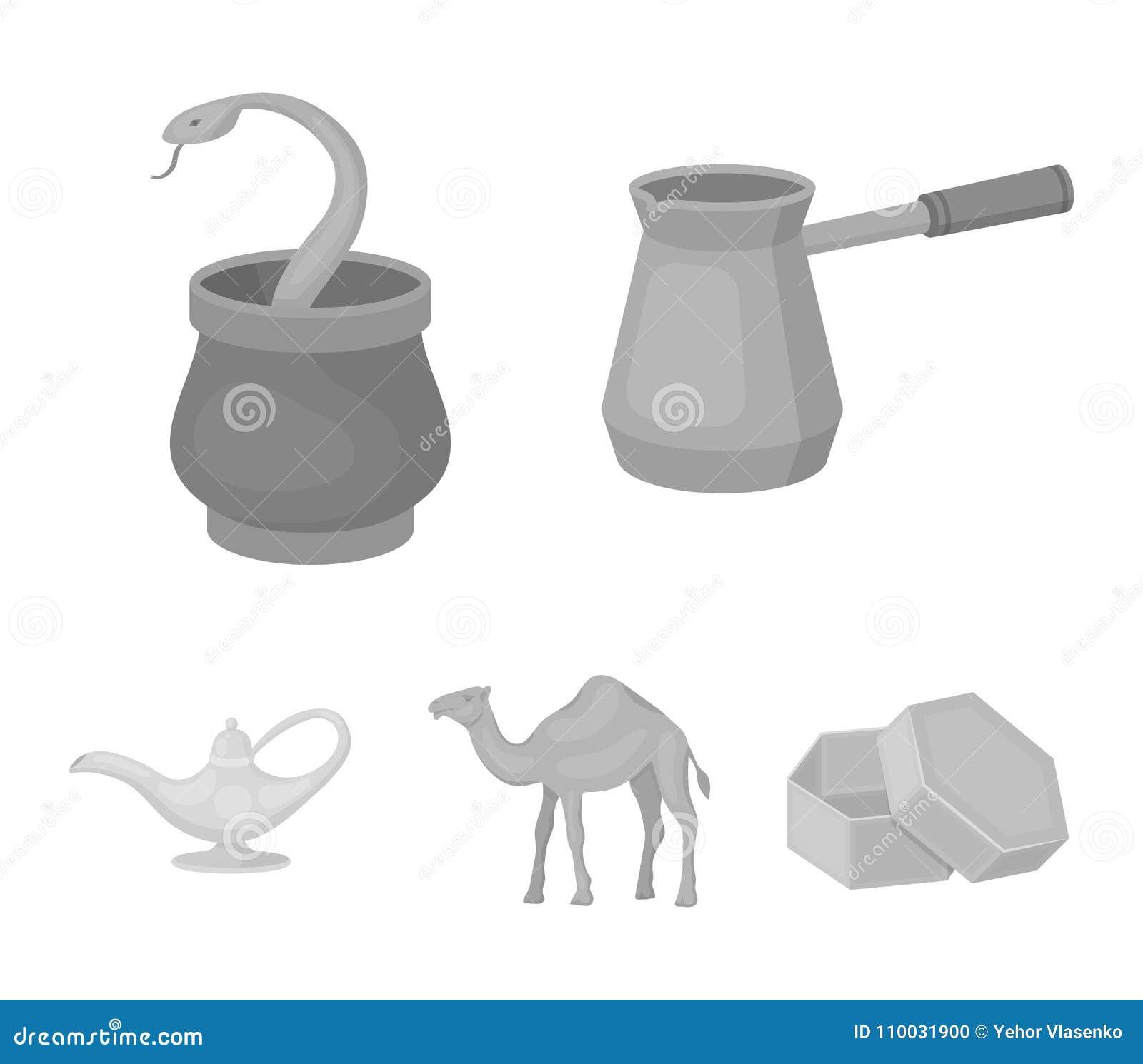 Cezve, Olielamp, kameel, slang in de mand Arabische emiraten geplaatst inzamelingspictogrammen in de zwart-wit voorraad van het s