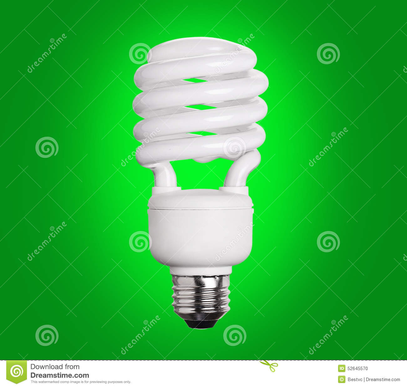 CFL Light Bulb With Green Background Vector Illustration ...