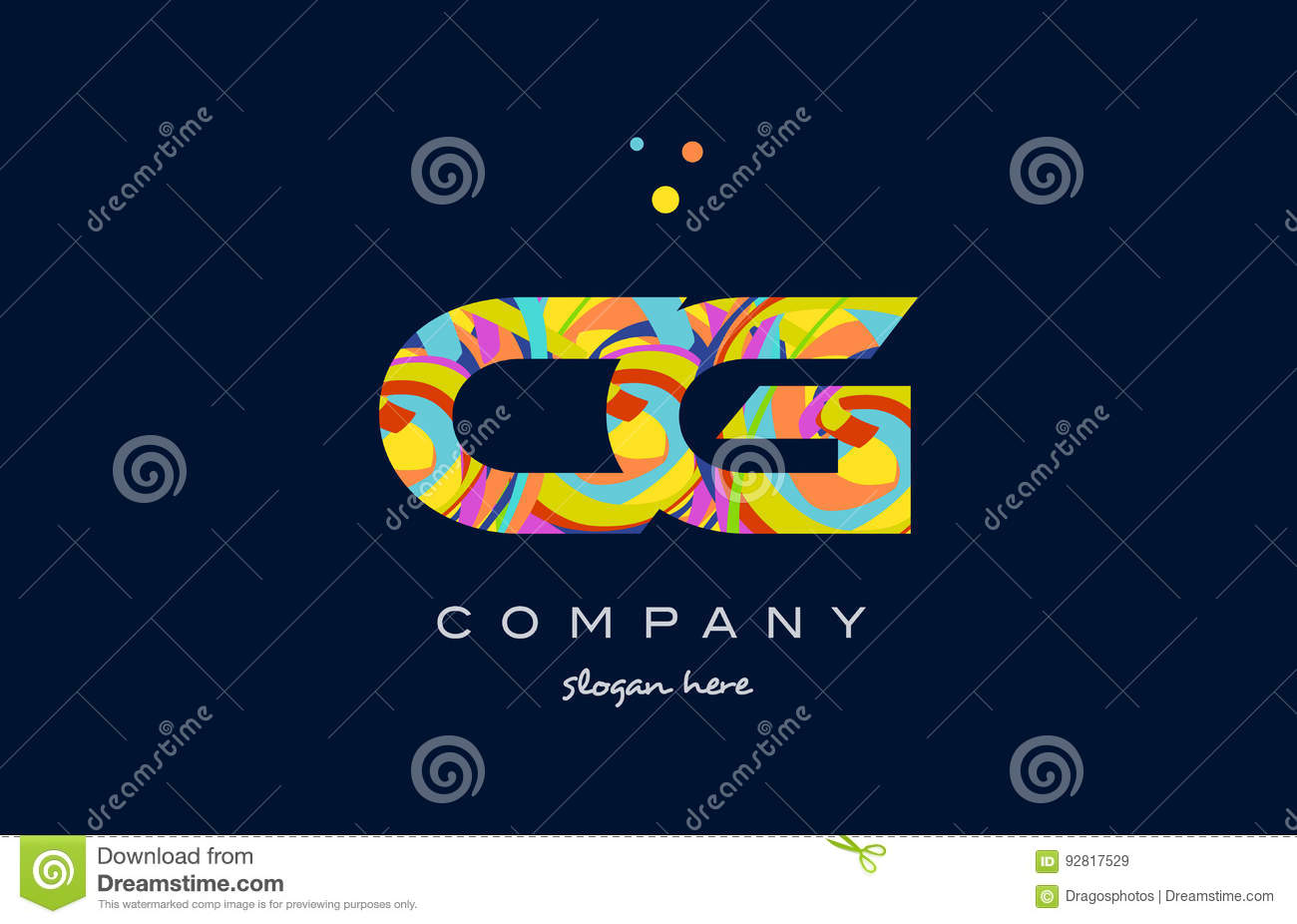 cg c g colorful alphabet letter logo icon template vector