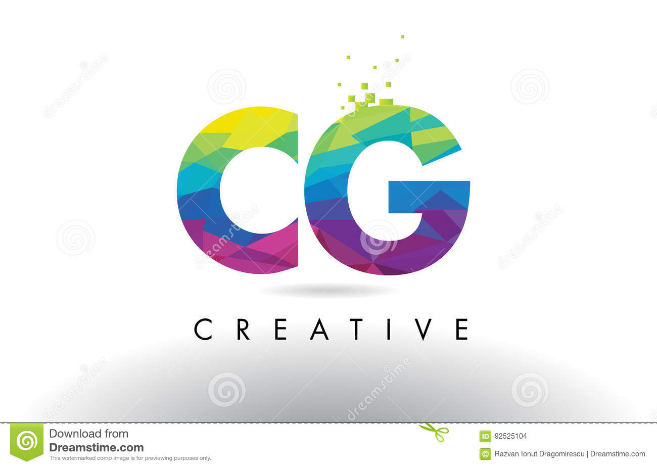CG C G Colorful Letter Origami Triangles Design Vector.
