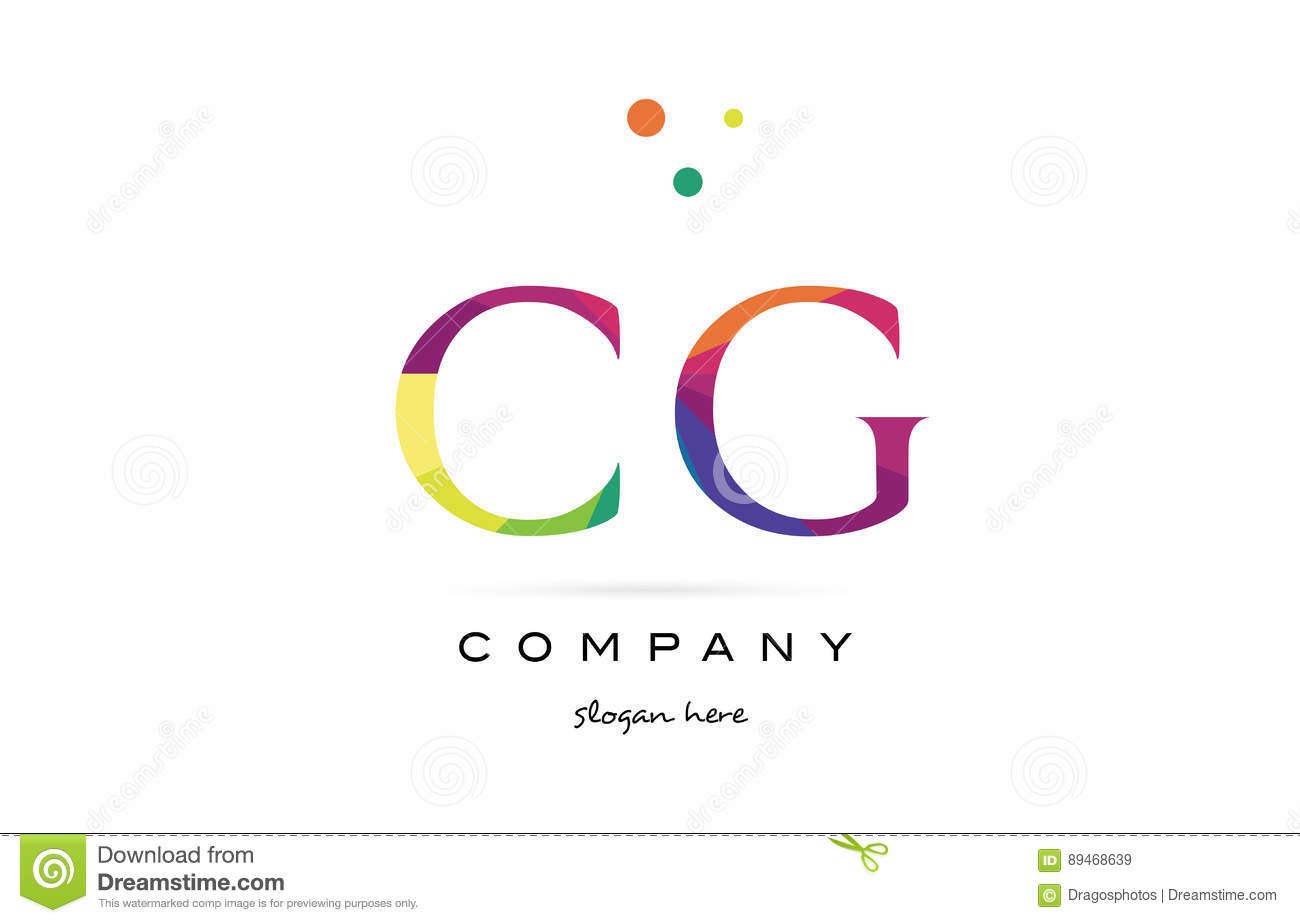 cg c g creative rainbow colors alphabet letter logo icon