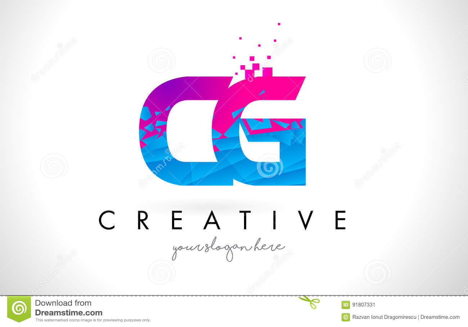 CG C G Letter Logo with Shattered Broken Blue Pink Texture Design Vector.