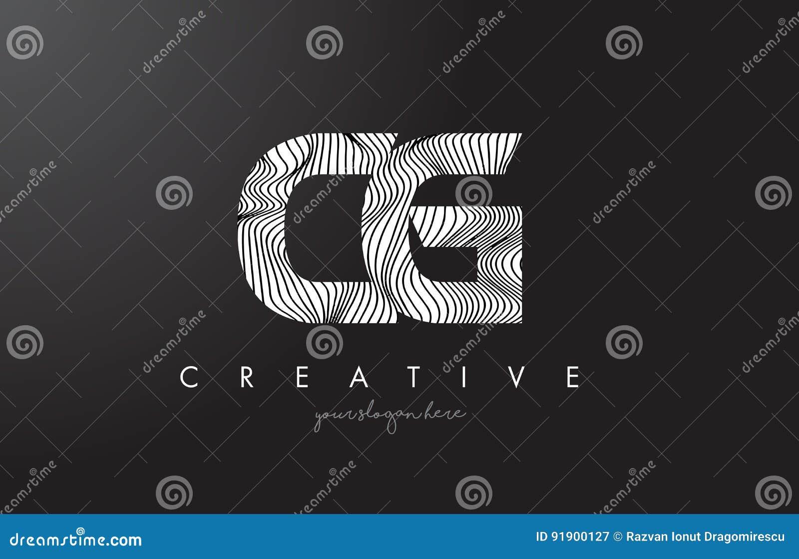 Cg C G Letter Logo With Zebra Lines Texture Design Vector