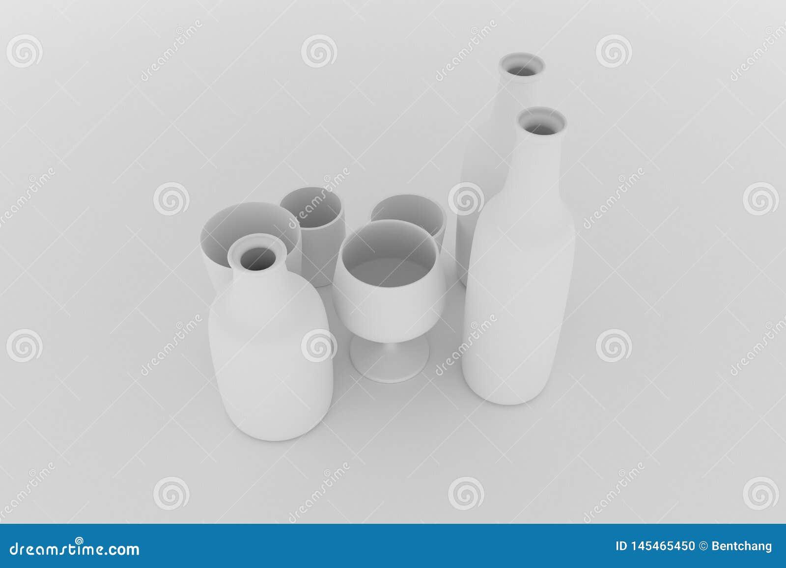Cgi-Zusammensetzung, concepture Stillleben, Flasche u. Glas f?r Entwurfsbeschaffenheit, Hintergrund Grau oder Schwarzweiss--b&w 3