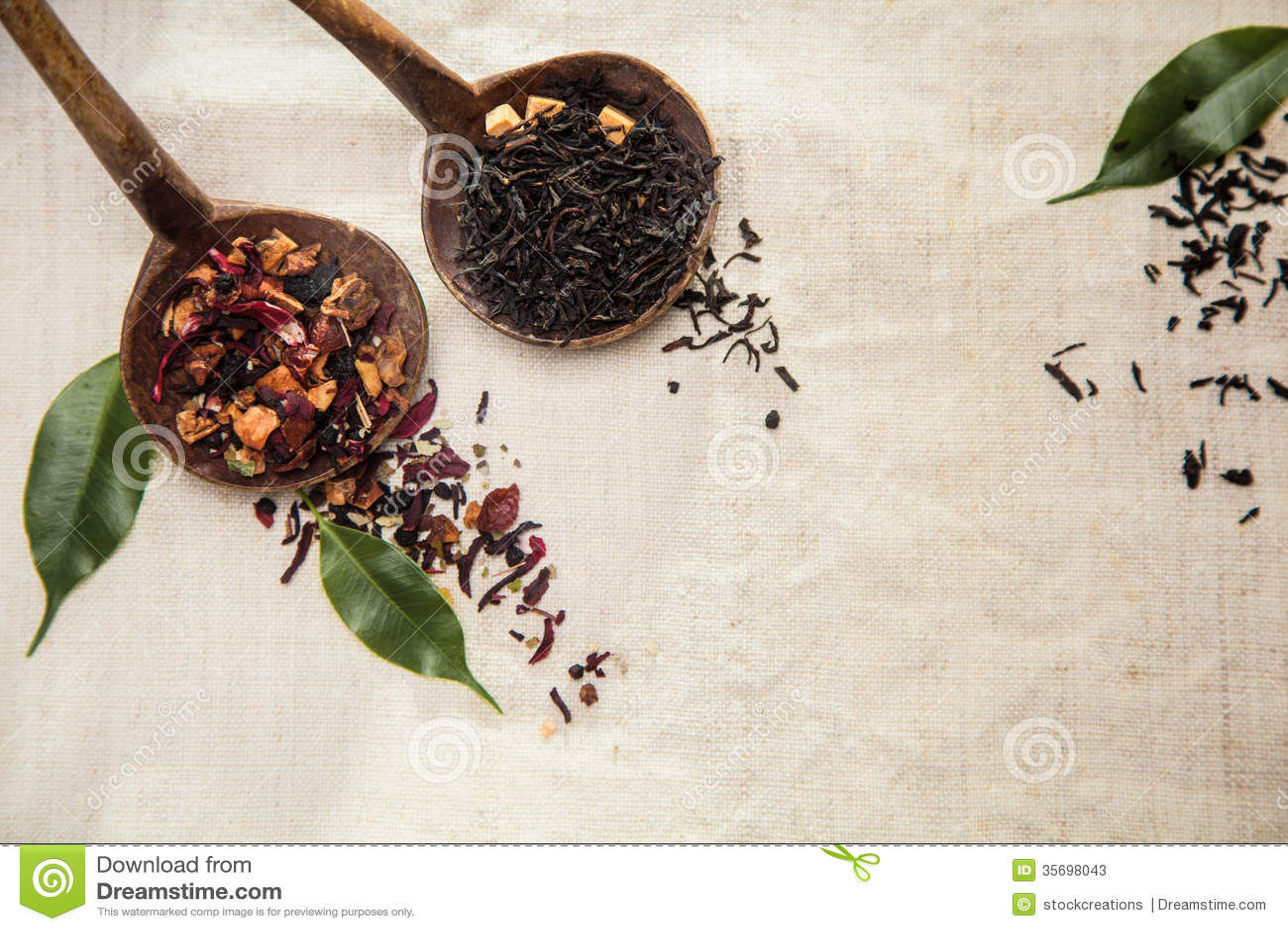 Chá de folhas soltas secado