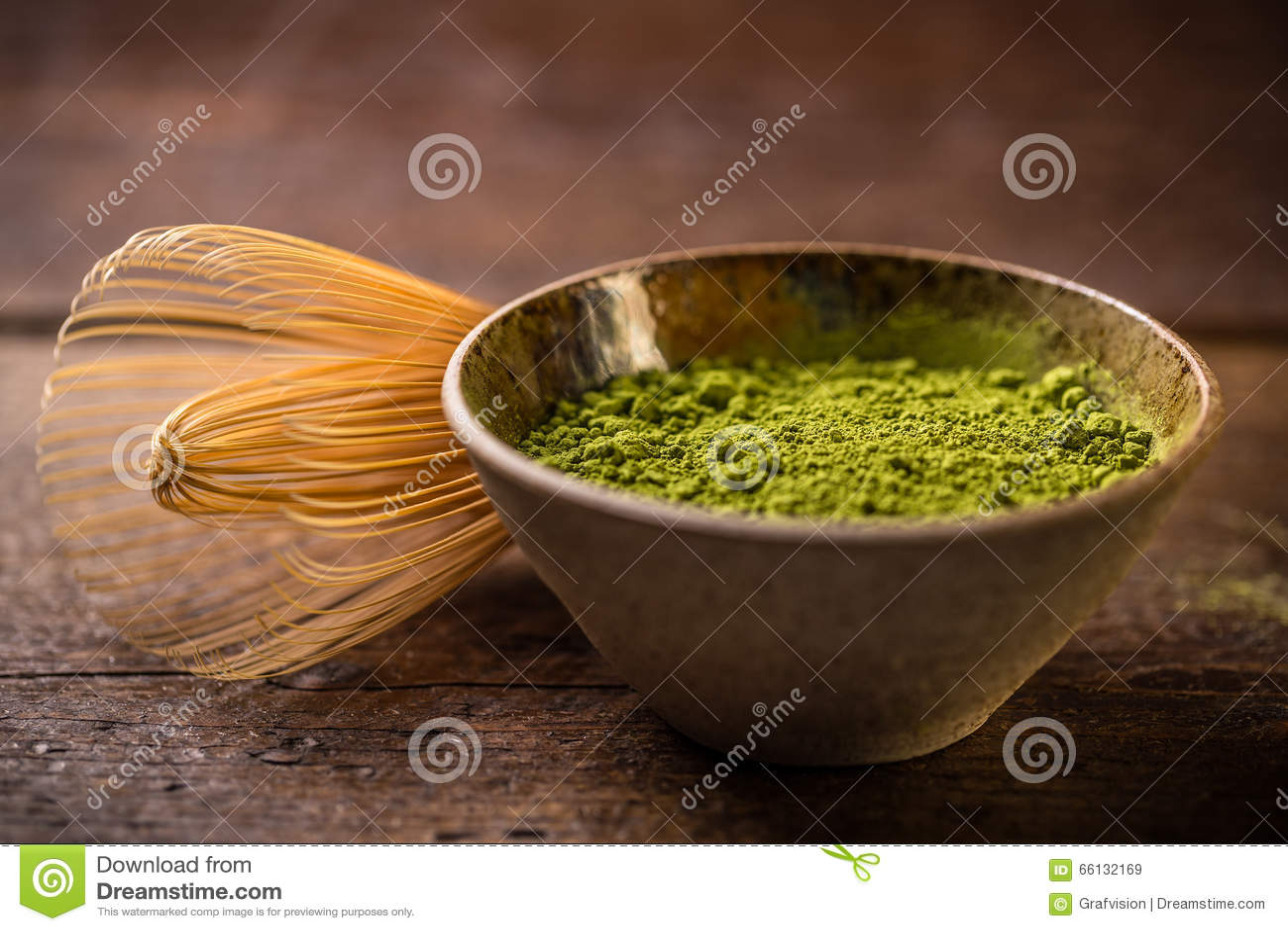 Chá verde do pó