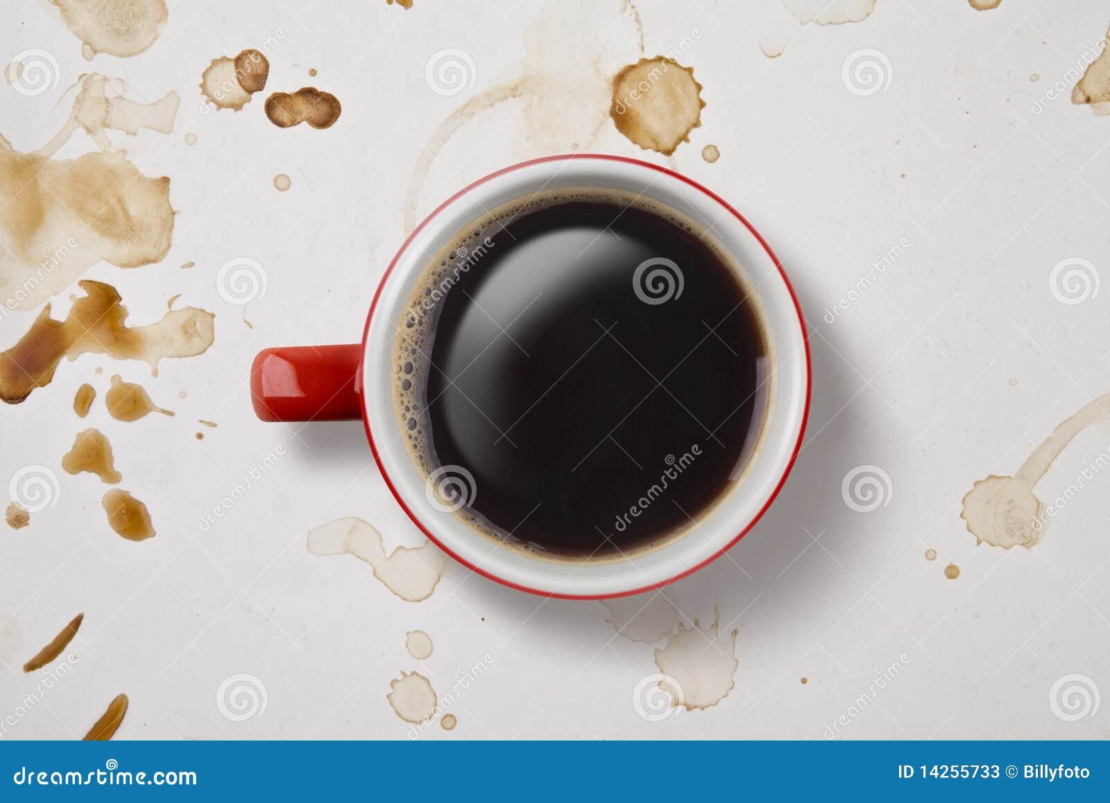 Chávena de café disparada de acima