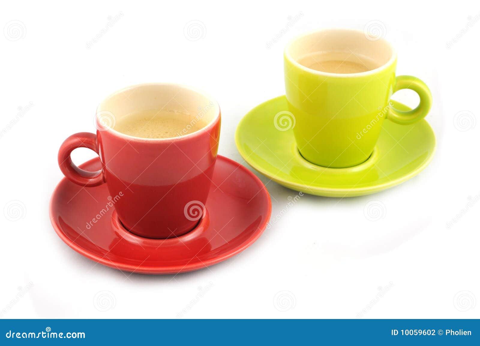 Chávena de café verde e vermelha