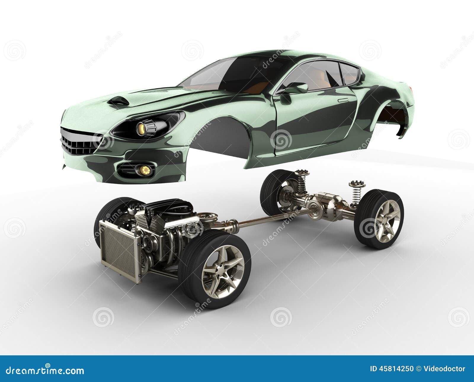 ch ssis de voiture avec le moteur de sportcar brandless de luxe illustration stock image 45814250. Black Bedroom Furniture Sets. Home Design Ideas