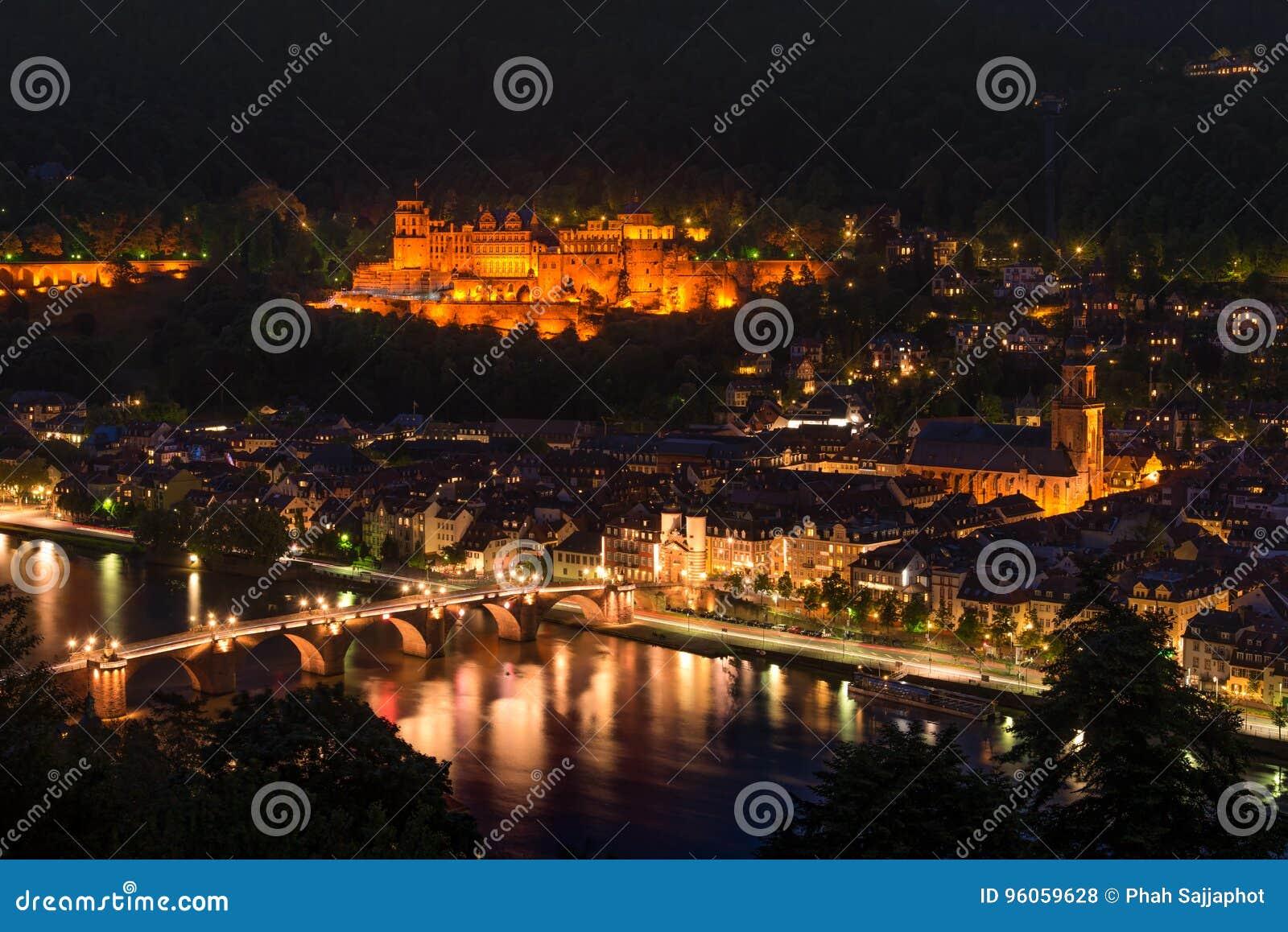 Château d Heidelberg la nuit de la colline, Baden