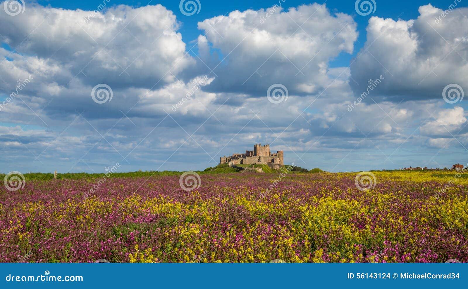 Château de Bamburgh sur la côte du Northumberland, Angleterre