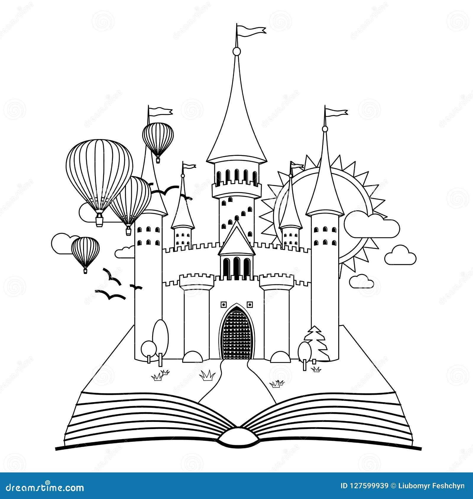 Château de conte de fées sur l image de vecteur de coloration de livre