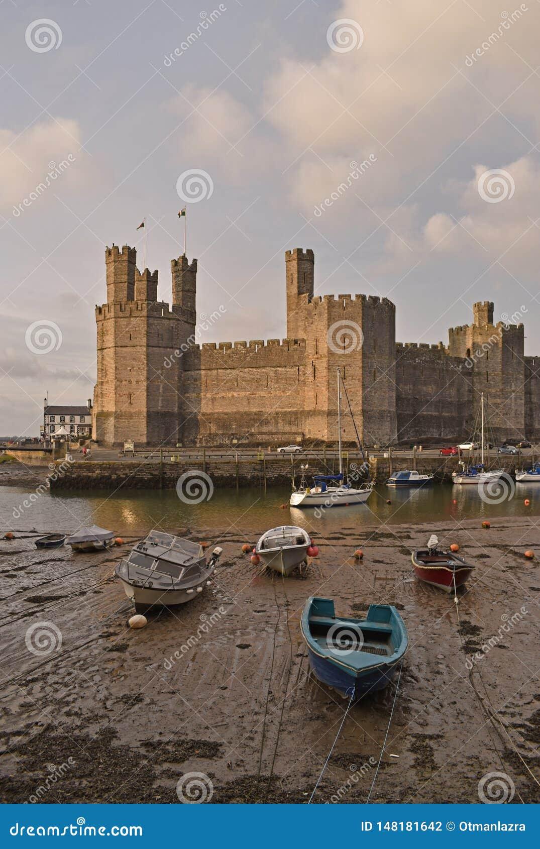 Château et bateaux amarrés au port de Caernarfon, Pays de Galles du nord