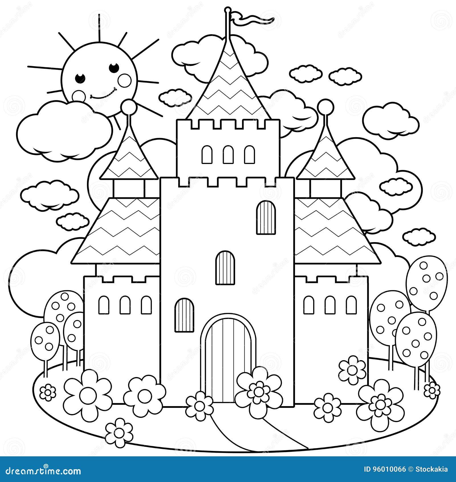 Château et fleurs de conte de fées Page de coloration