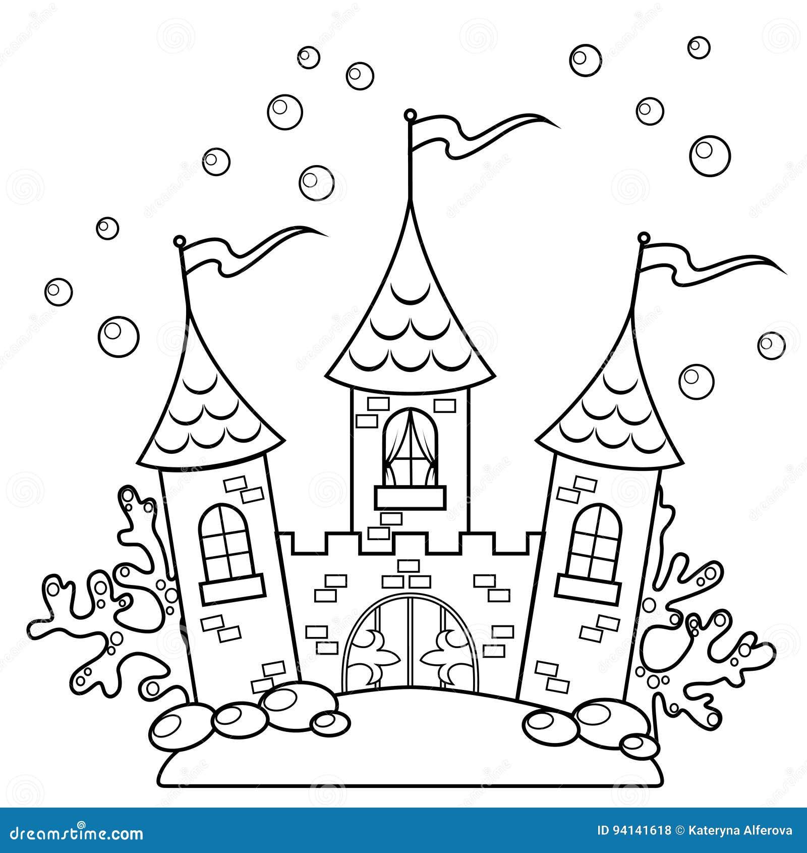 Château sous-marin Illustration noire et blanche de vecteur pour livre de coloriage