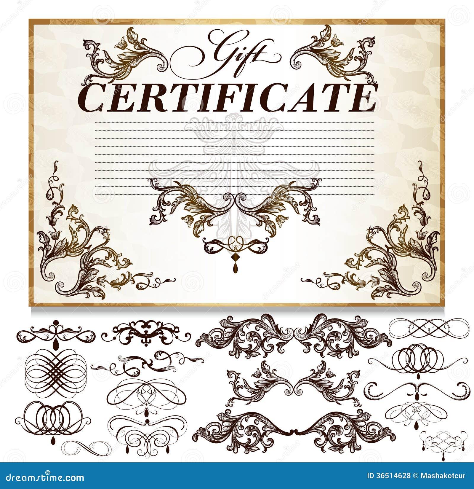 Chèque-cadeaux réglé avec les éléments calligraphiques décoratifs pour