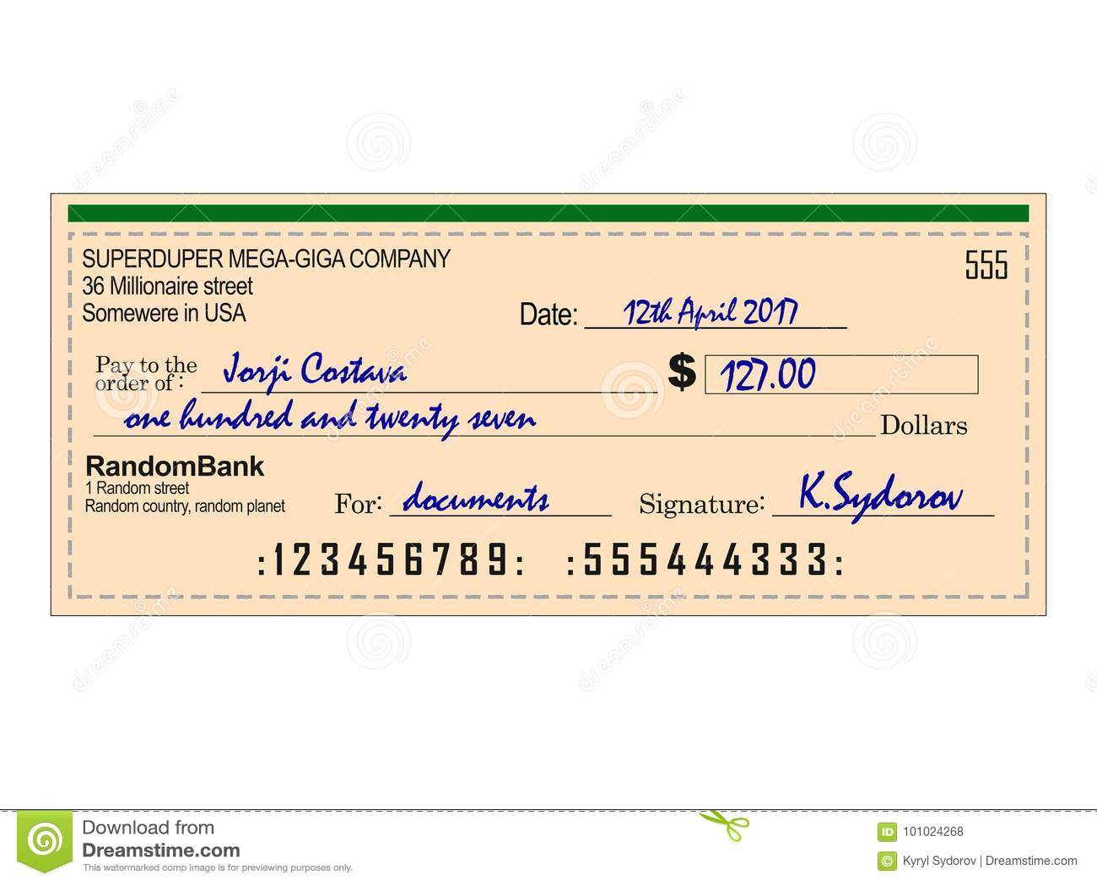 Chèque rempli de banque