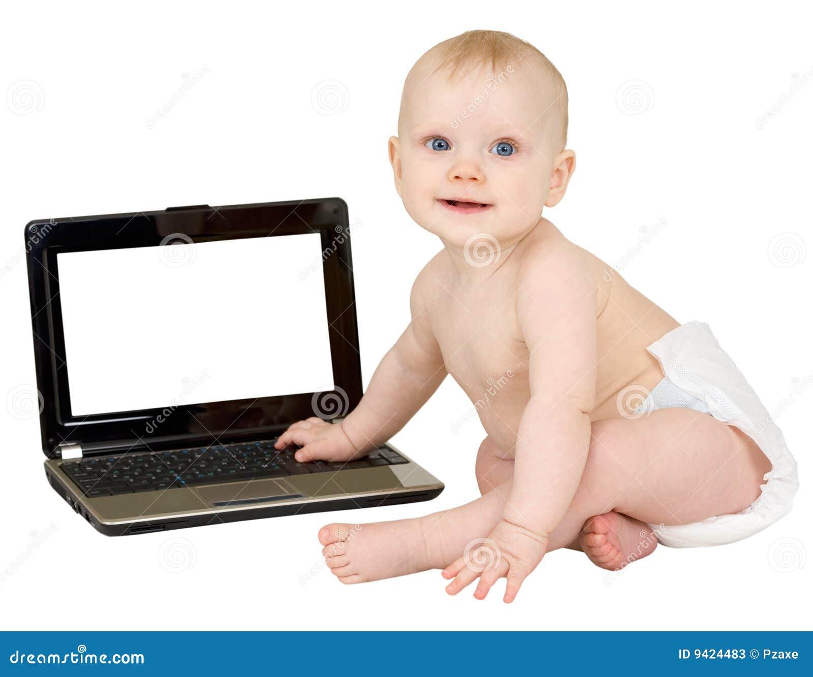 Chéri et ordinateur portatif