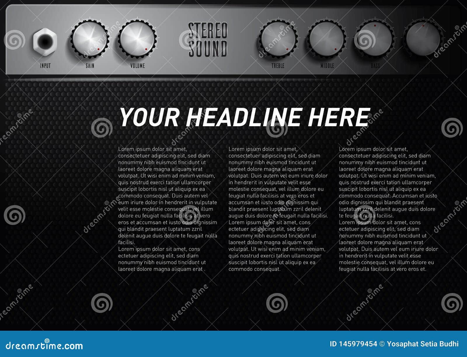 Chłodno muzycznego tematu plakatowy szablon z amplifikatoru tomowym guzikiem